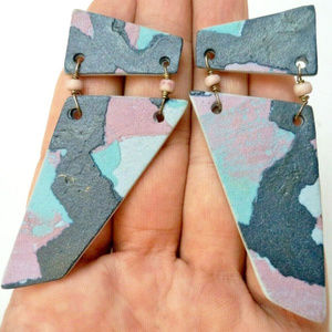 large vintage abstract pierced earrings cammo